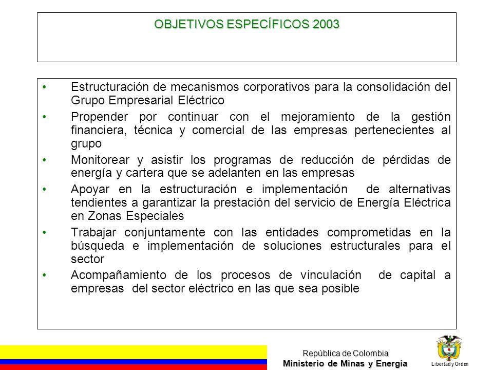 OBJETIVOS ESPECÍFICOS 2003