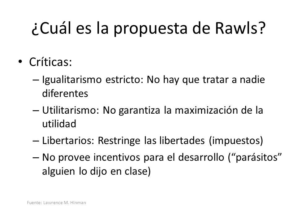 ¿Cuál es la propuesta de Rawls