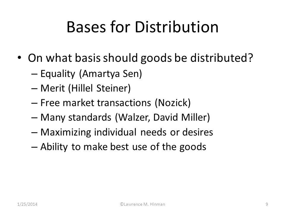 Bases for Distribution