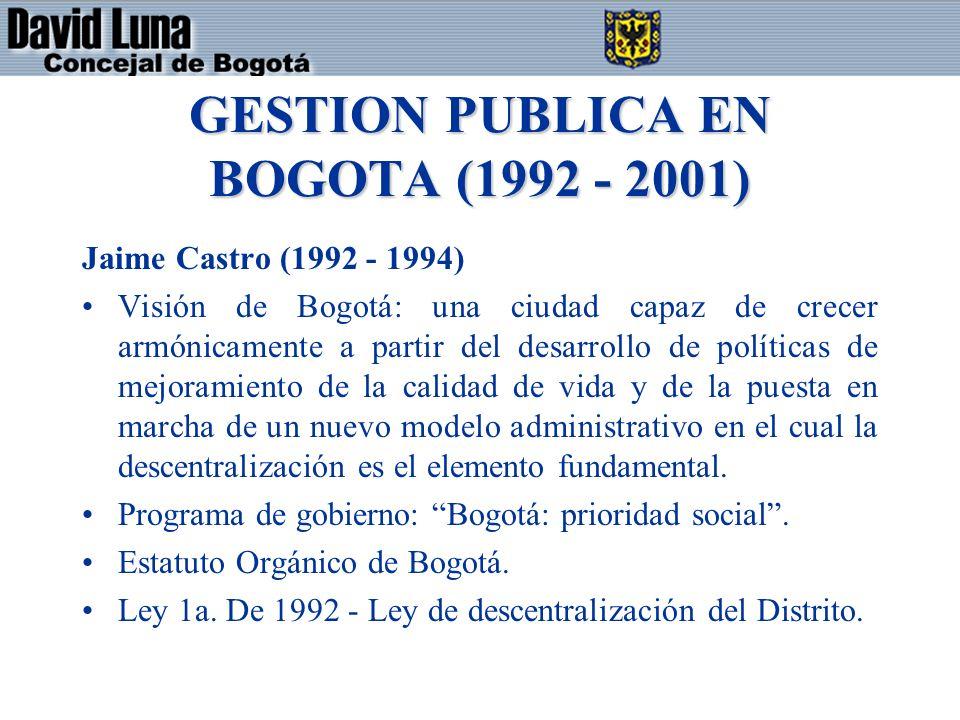 GESTION PUBLICA EN BOGOTA (1992 - 2001)
