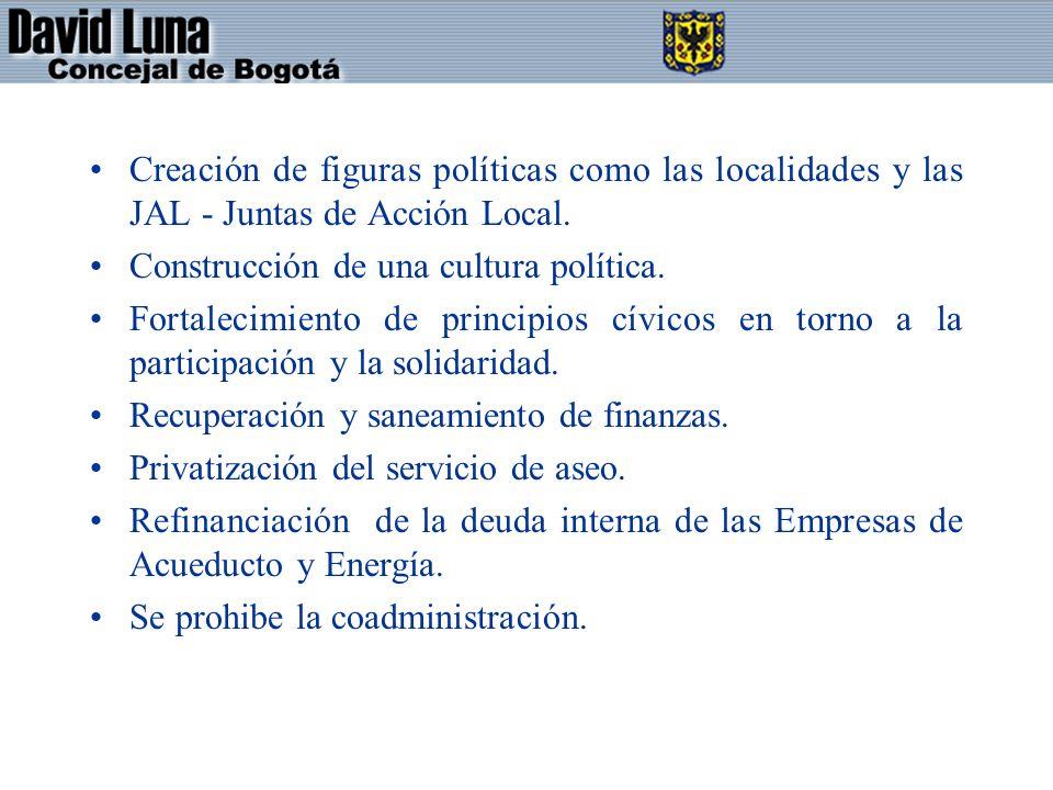 Creación de figuras políticas como las localidades y las JAL - Juntas de Acción Local.