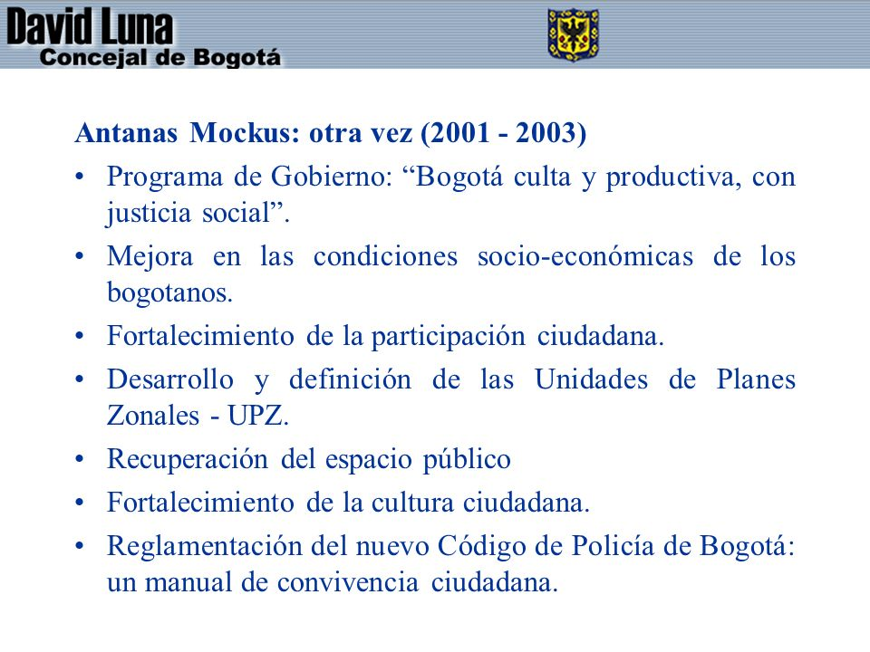 Antanas Mockus: otra vez (2001 - 2003)