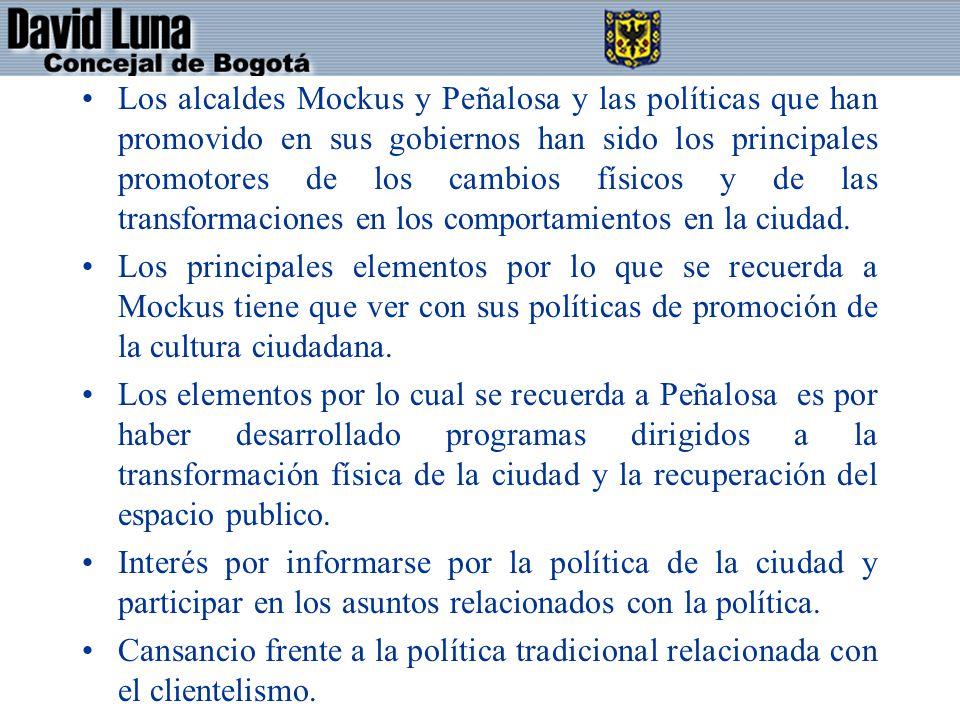 Los alcaldes Mockus y Peñalosa y las políticas que han promovido en sus gobiernos han sido los principales promotores de los cambios físicos y de las transformaciones en los comportamientos en la ciudad.