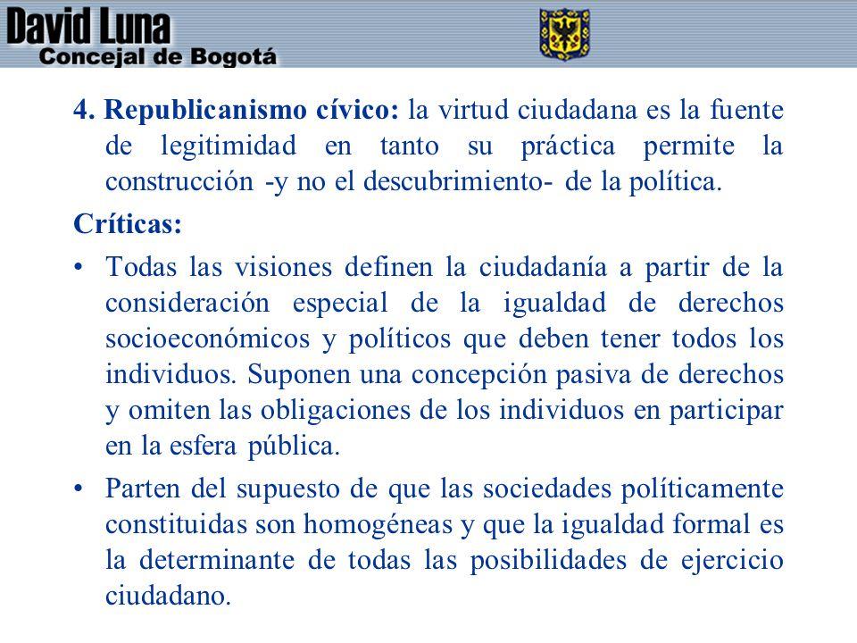 4. Republicanismo cívico: la virtud ciudadana es la fuente de legitimidad en tanto su práctica permite la construcción -y no el descubrimiento- de la política.