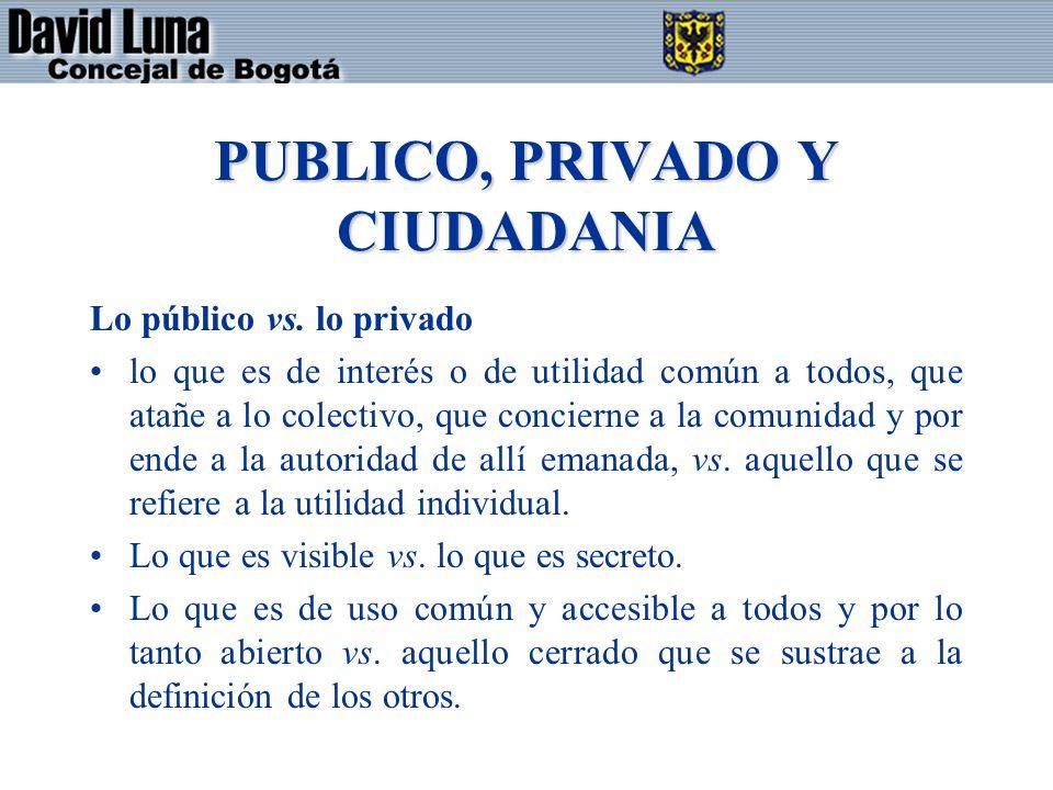 PUBLICO, PRIVADO Y CIUDADANIA