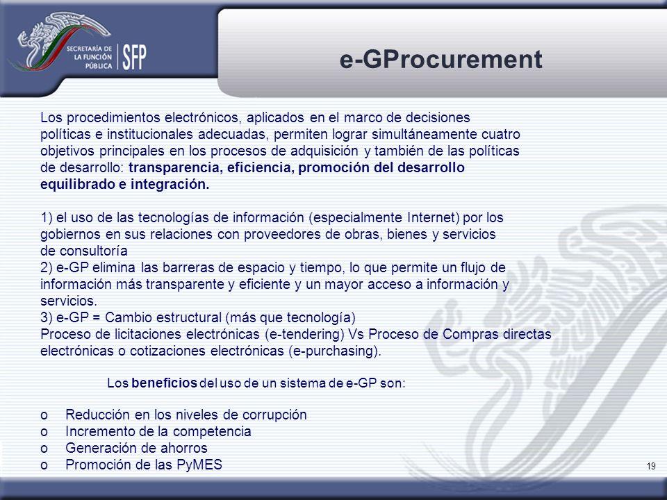 e-GProcurement Los procedimientos electrónicos, aplicados en el marco de decisiones.