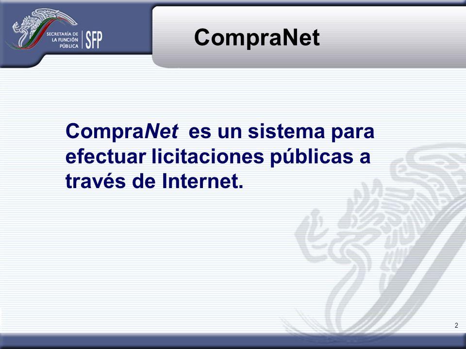 CompraNet CompraNet es un sistema para efectuar licitaciones públicas a través de Internet.