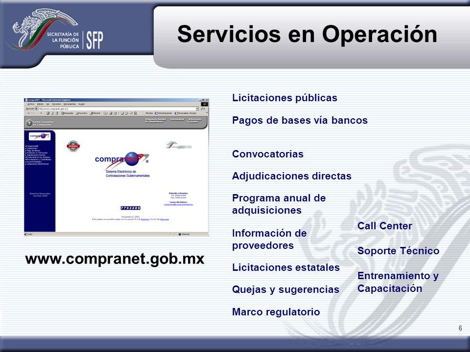 Servicios en Operación
