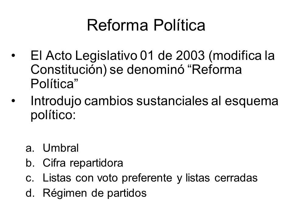 Reforma Política El Acto Legislativo 01 de 2003 (modifica la Constitución) se denominó Reforma Política