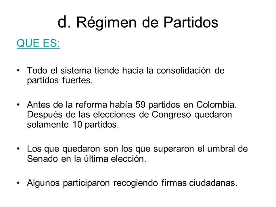 d. Régimen de Partidos QUE ES: