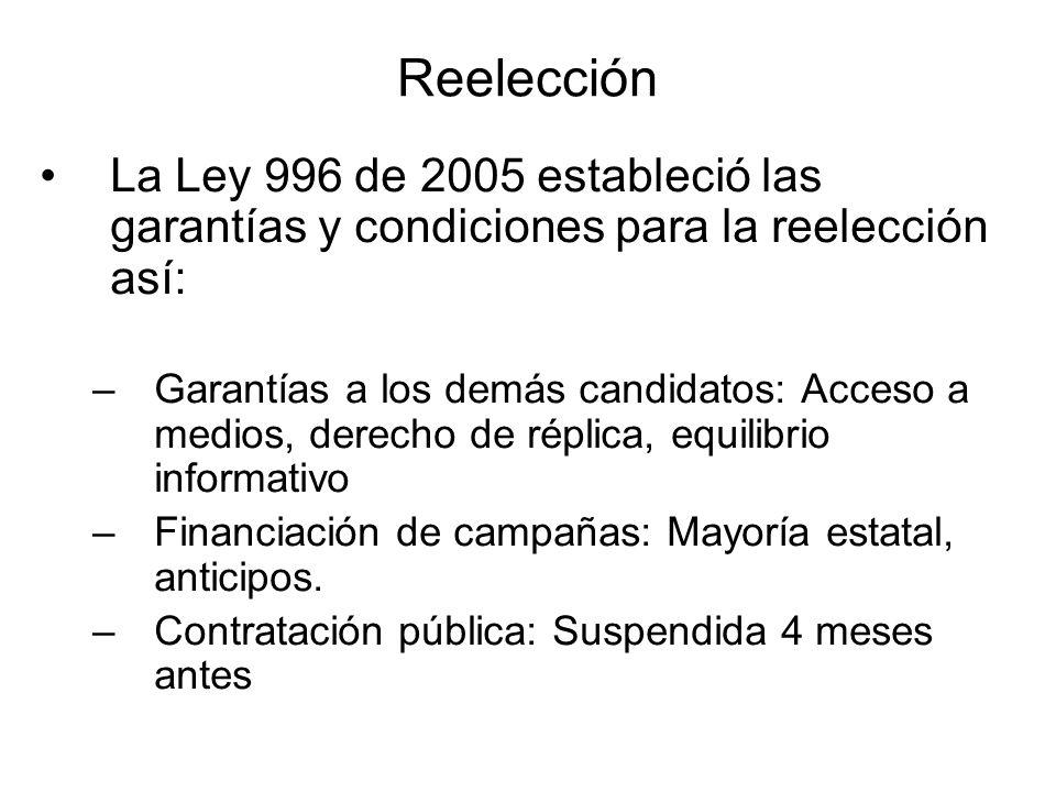 Reelección La Ley 996 de 2005 estableció las garantías y condiciones para la reelección así: