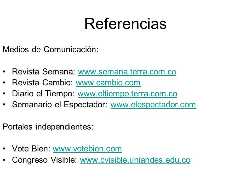 Referencias Medios de Comunicación: