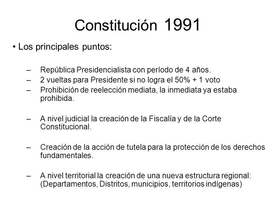 Constitución 1991 Los principales puntos: