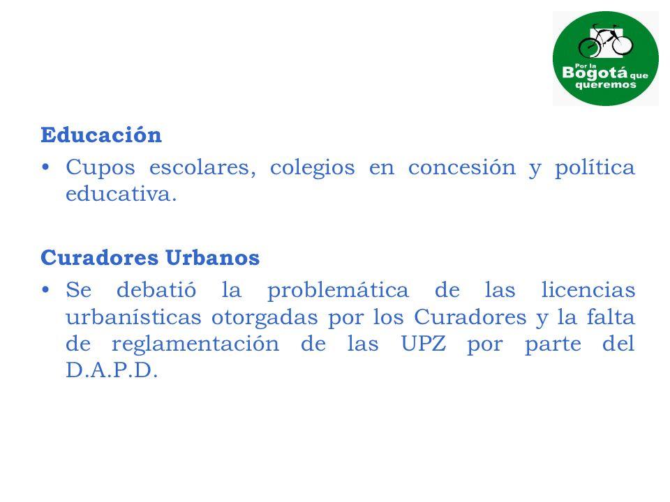 Educación Cupos escolares, colegios en concesión y política educativa. Curadores Urbanos.