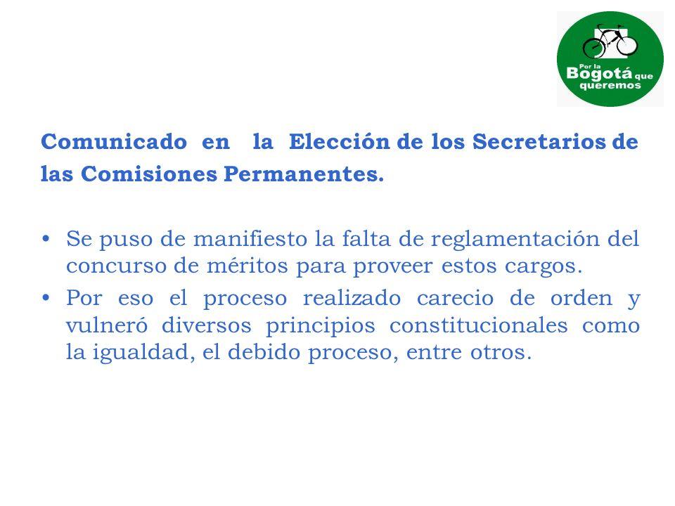 Comunicado en la Elección de los Secretarios de