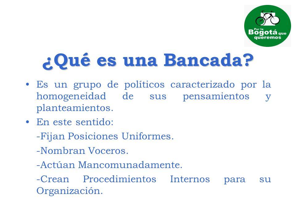 ¿Qué es una Bancada Es un grupo de políticos caracterizado por la homogeneidad de sus pensamientos y planteamientos.