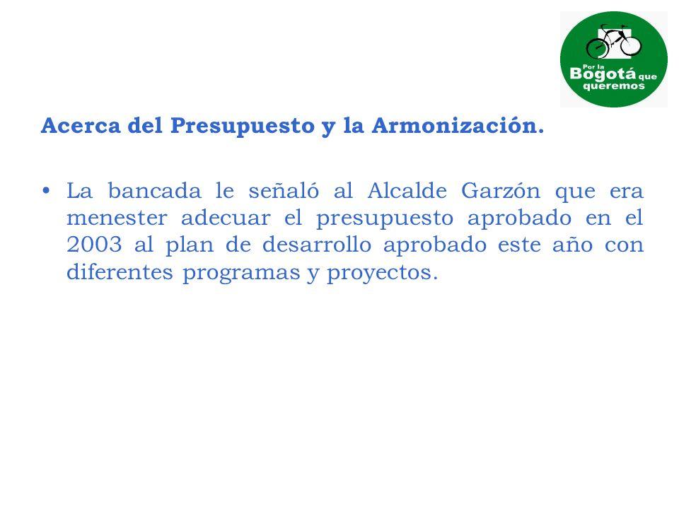 Acerca del Presupuesto y la Armonización.