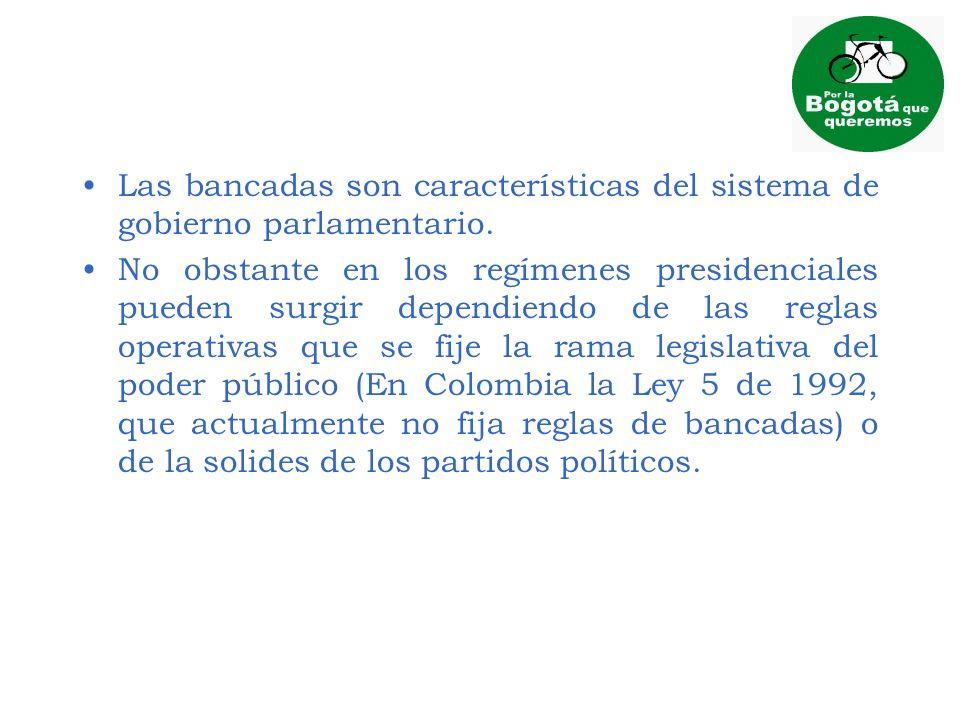 Las bancadas son características del sistema de gobierno parlamentario.