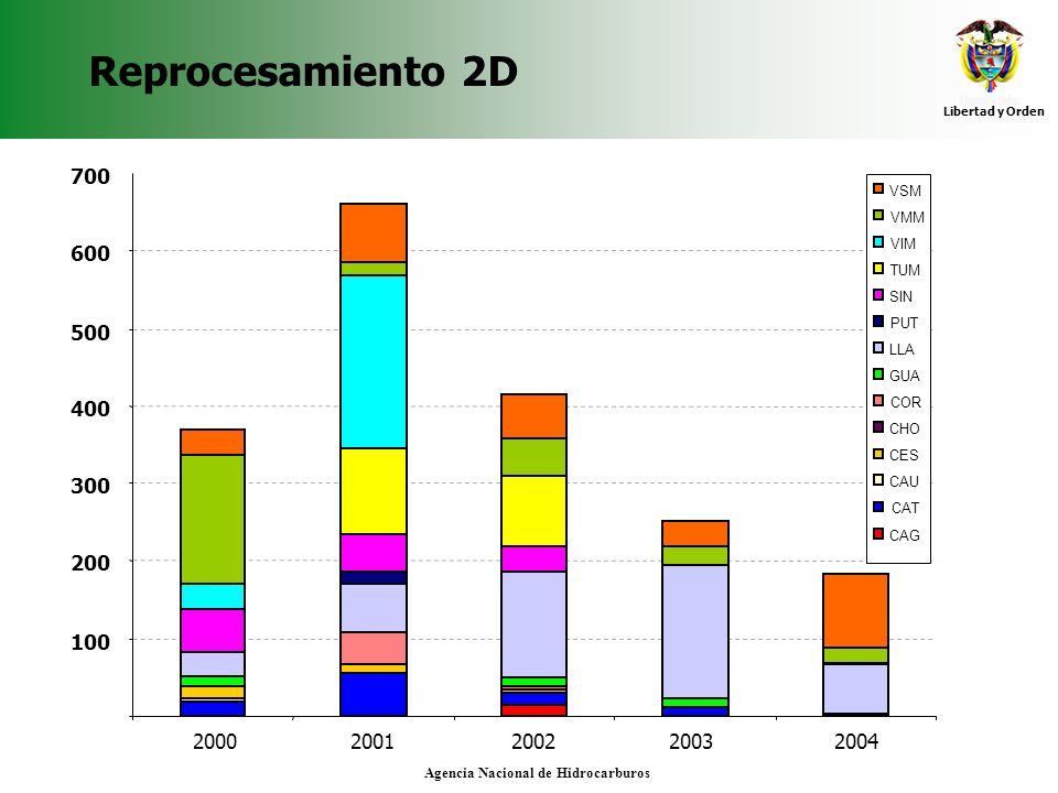 Reprocesamiento 2D 700. VSM. VMM. VIM. TUM. SIN. PUT. LLA. GUA. COR. CHO. CES. CAU. CAT.
