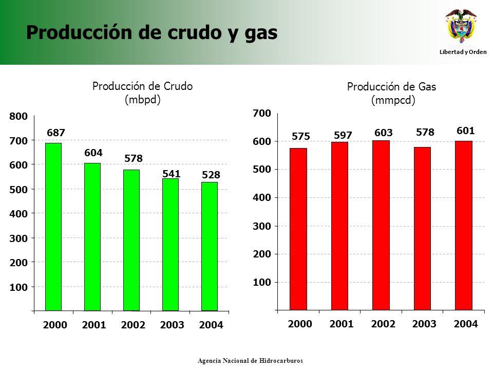 Producción de crudo y gas