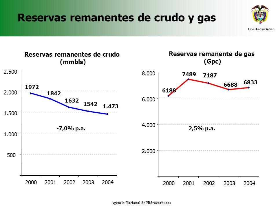 Reservas remanentes de crudo y gas