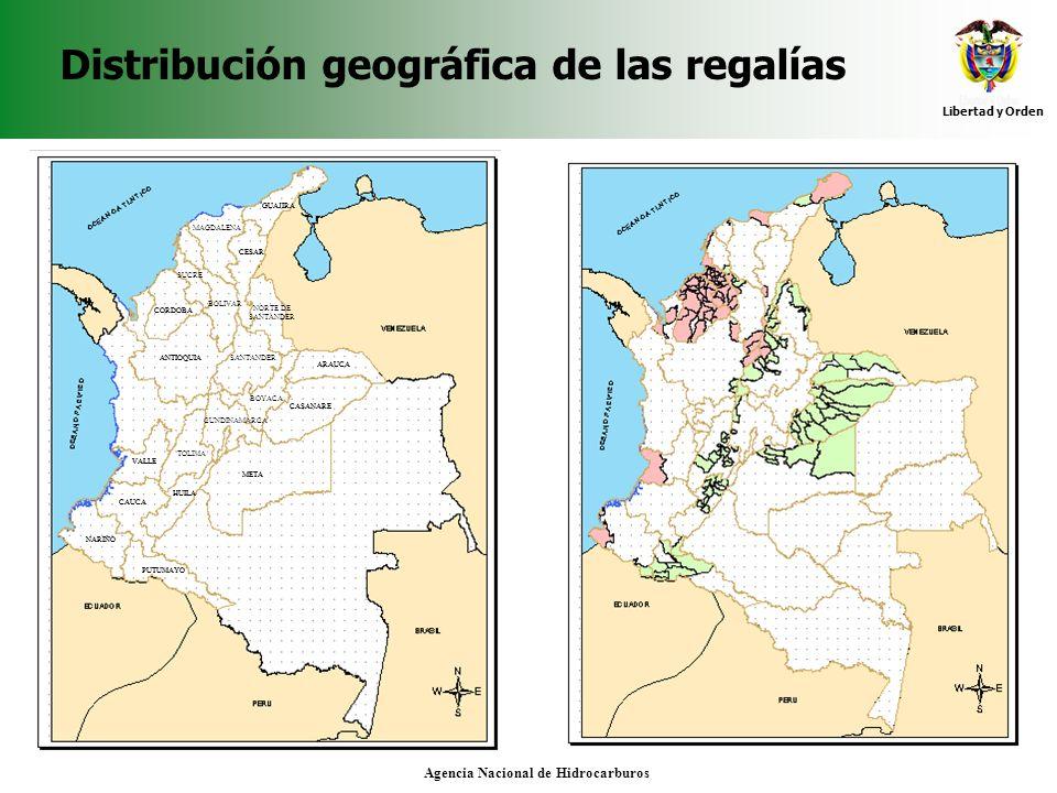Distribución geográfica de las regalías
