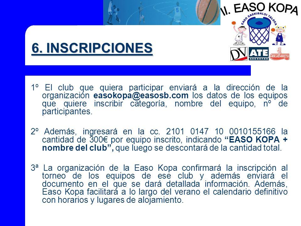 II. EASO KOPA 6. INSCRIPCIONES