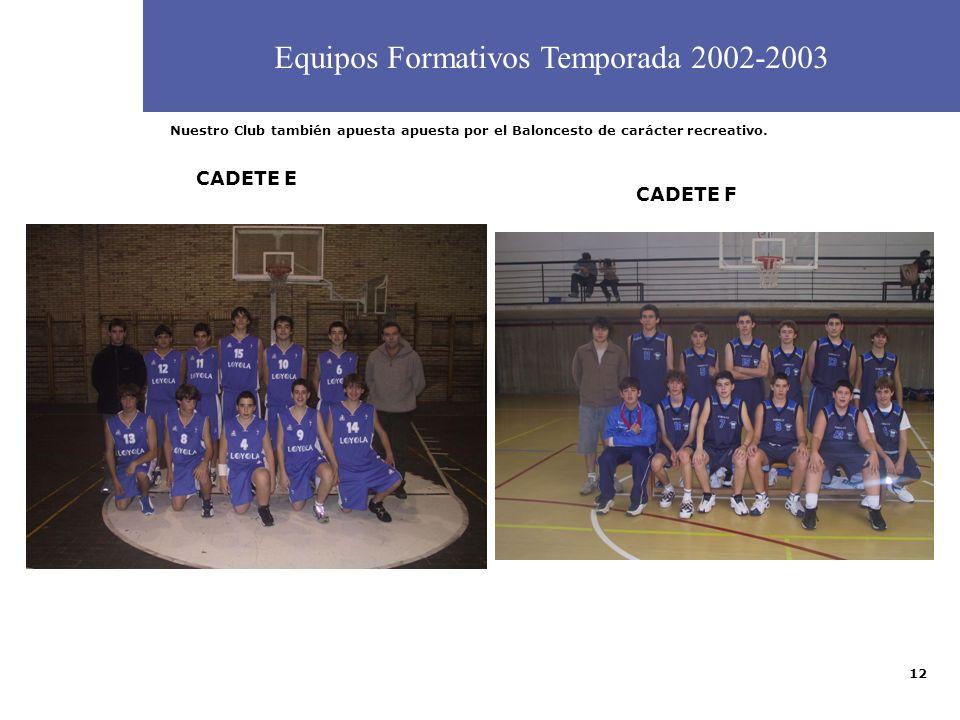 Equipos Formativos Temporada 2002-2003