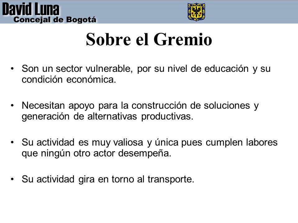 Sobre el Gremio Son un sector vulnerable, por su nivel de educación y su condición económica.