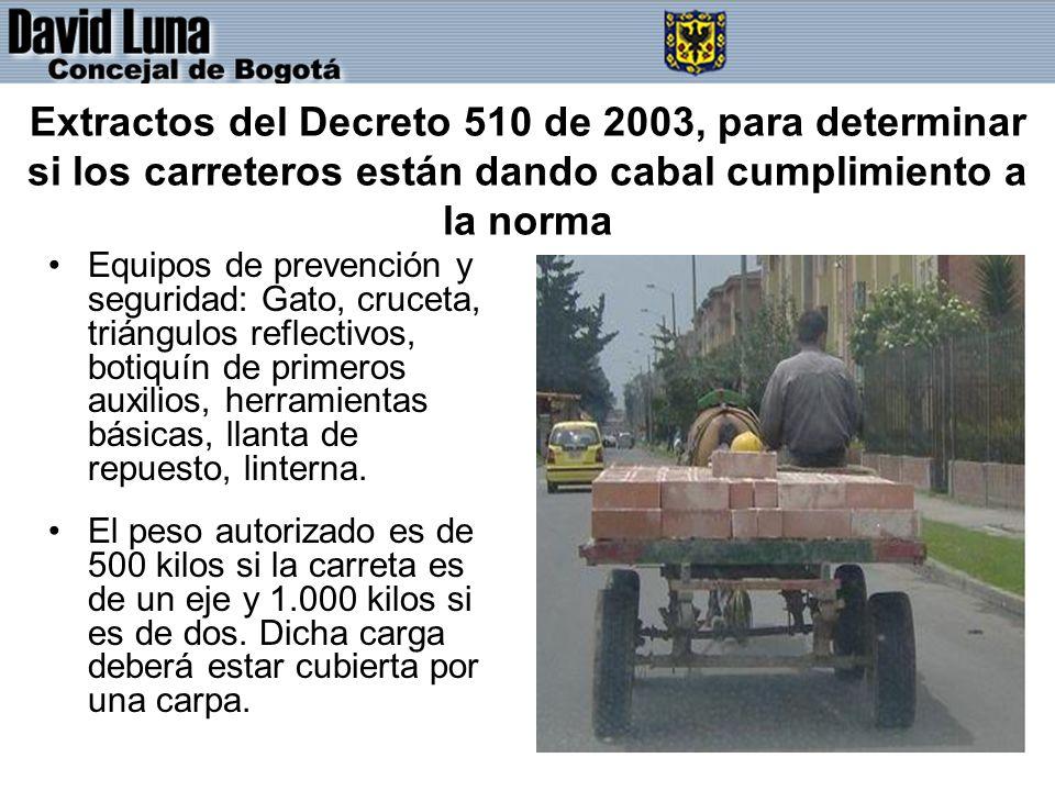 Extractos del Decreto 510 de 2003, para determinar si los carreteros están dando cabal cumplimiento a la norma
