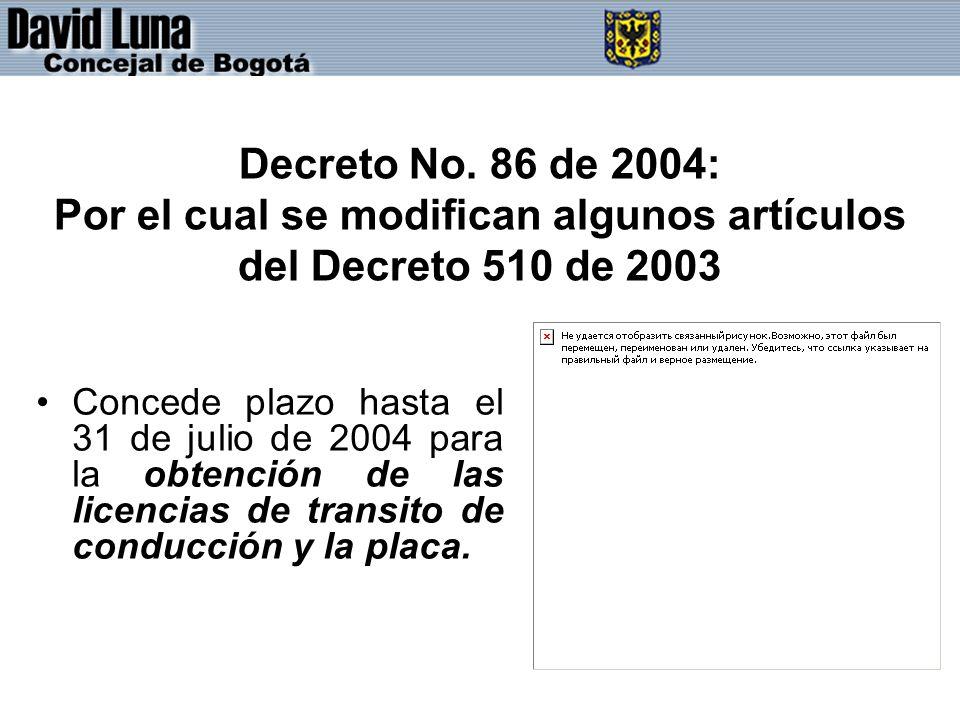 Decreto No. 86 de 2004: Por el cual se modifican algunos artículos del Decreto 510 de 2003