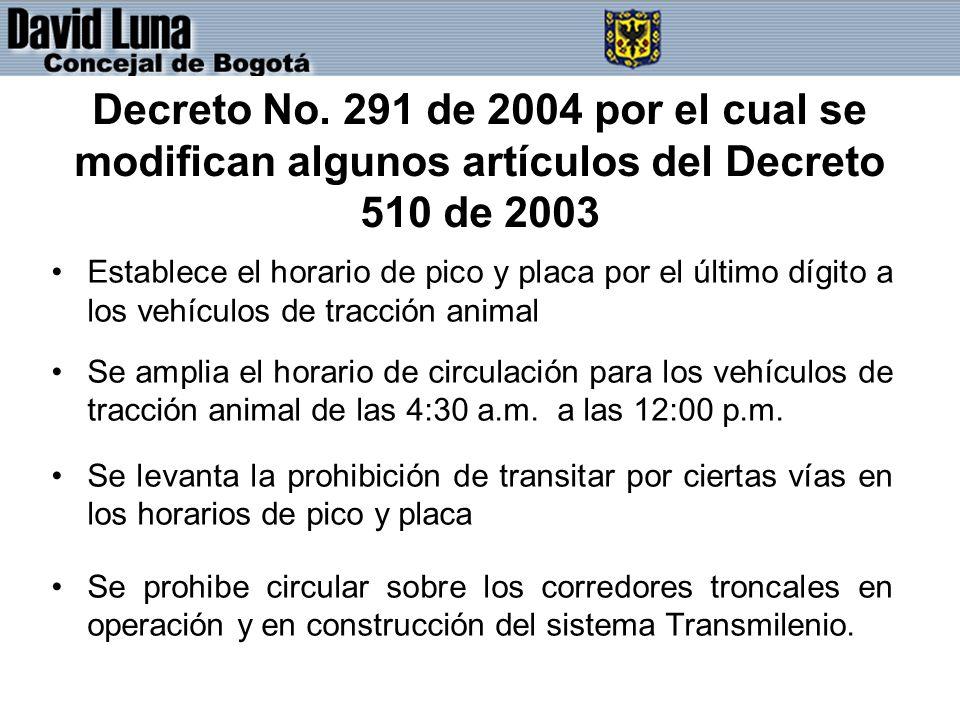 Decreto No. 291 de 2004 por el cual se modifican algunos artículos del Decreto 510 de 2003