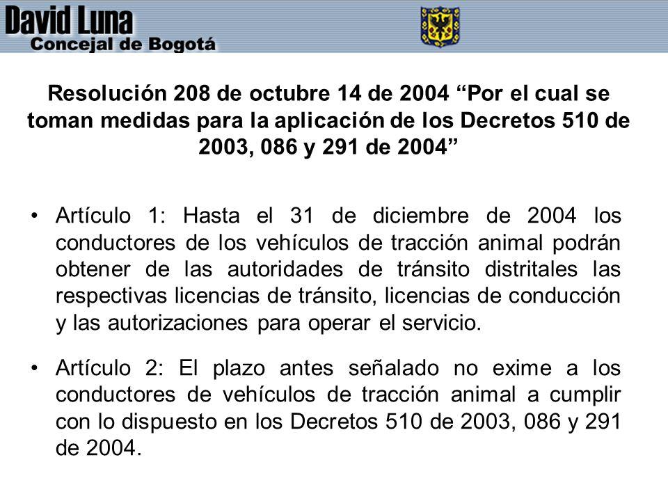 Resolución 208 de octubre 14 de 2004 Por el cual se toman medidas para la aplicación de los Decretos 510 de 2003, 086 y 291 de 2004