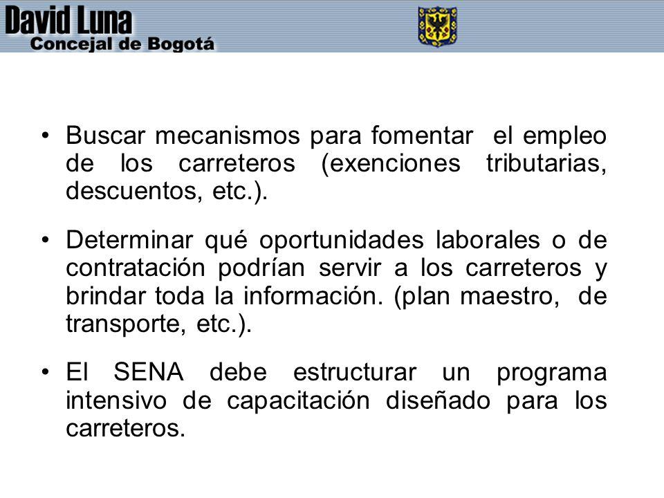 Buscar mecanismos para fomentar el empleo de los carreteros (exenciones tributarias, descuentos, etc.).