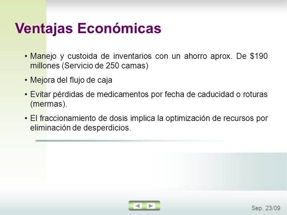 Ventajas EconómicasManejo y custoida de inventarios con un ahorro aprox. De $190 millones (Servicio de 250 camas)