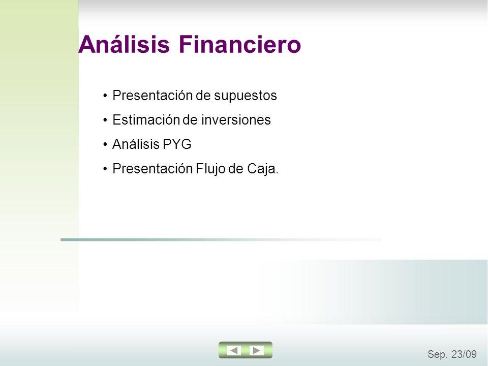 Análisis Financiero Presentación de supuestos