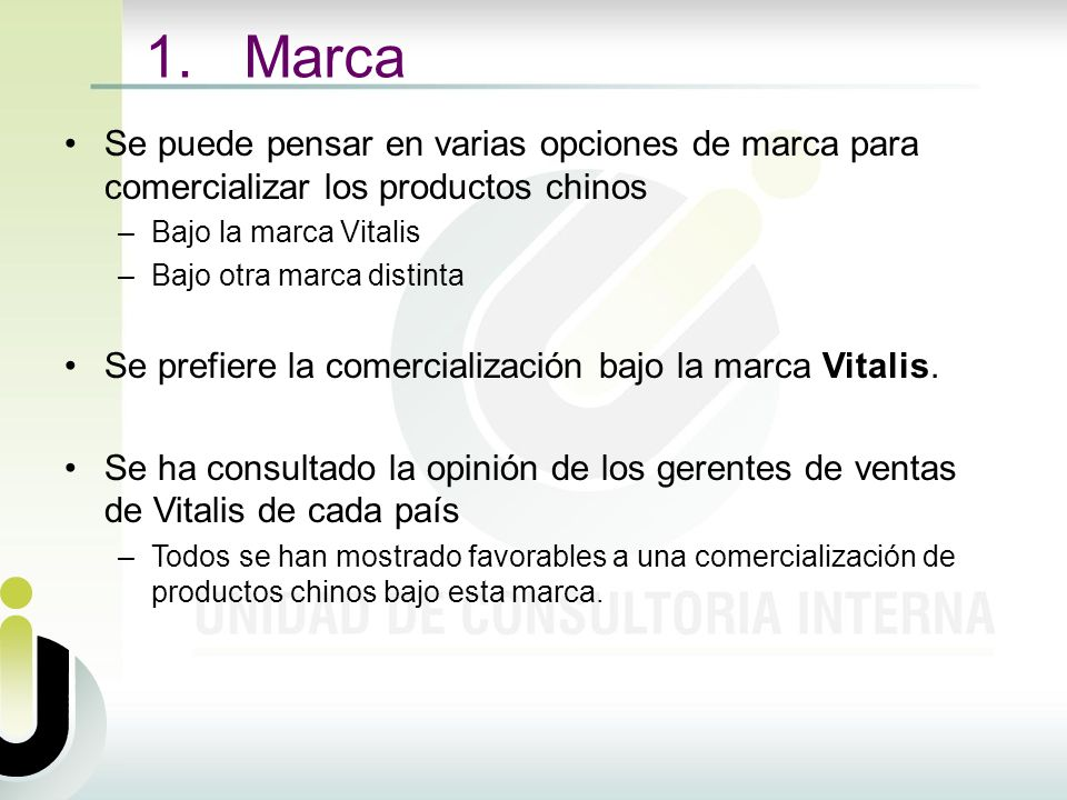 1. Marca Se puede pensar en varias opciones de marca para comercializar los productos chinos. Bajo la marca Vitalis.