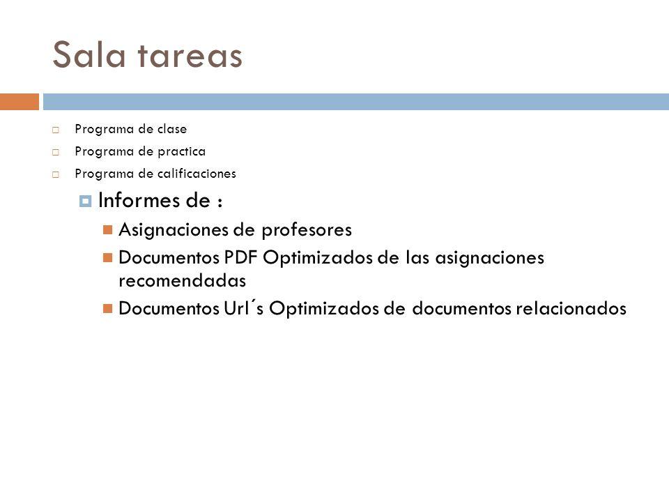 Sala tareas Informes de : Asignaciones de profesores