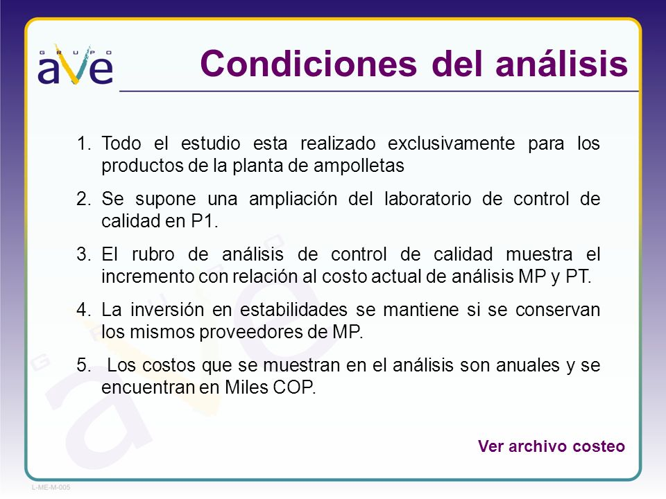Condiciones del análisis