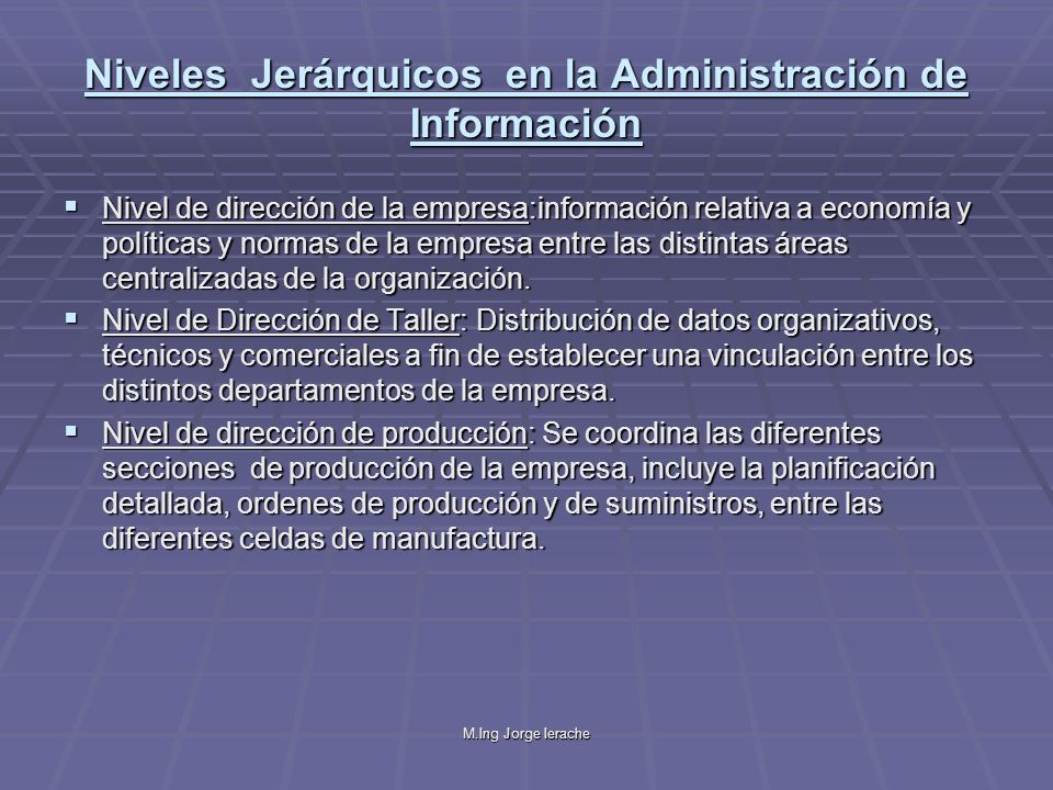 Niveles Jerárquicos en la Administración de Información