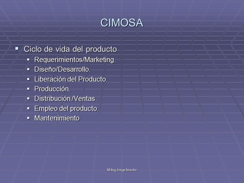 CIMOSA Ciclo de vida del producto Requerimientos/Marketing.