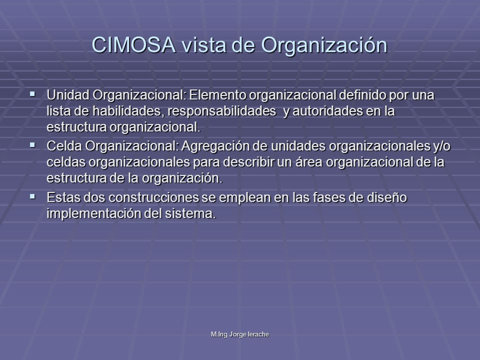 CIMOSA vista de Organización