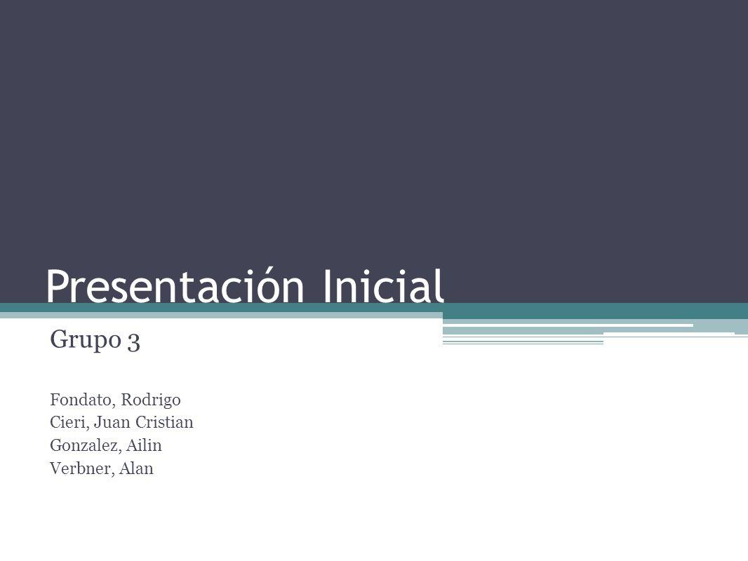Presentación Inicial Grupo 3 Fondato, Rodrigo Cieri, Juan Cristian