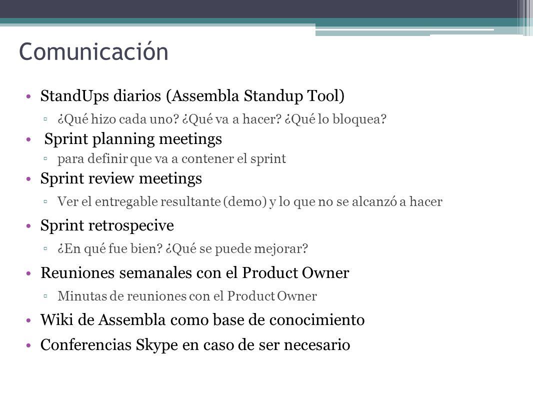 Comunicación StandUps diarios (Assembla Standup Tool)
