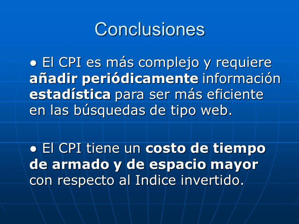 Conclusiones ● El CPI es más complejo y requiere añadir periódicamente información estadística para ser más eficiente en las búsquedas de tipo web.