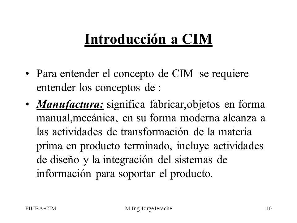 Introducción a CIM Para entender el concepto de CIM se requiere entender los conceptos de :