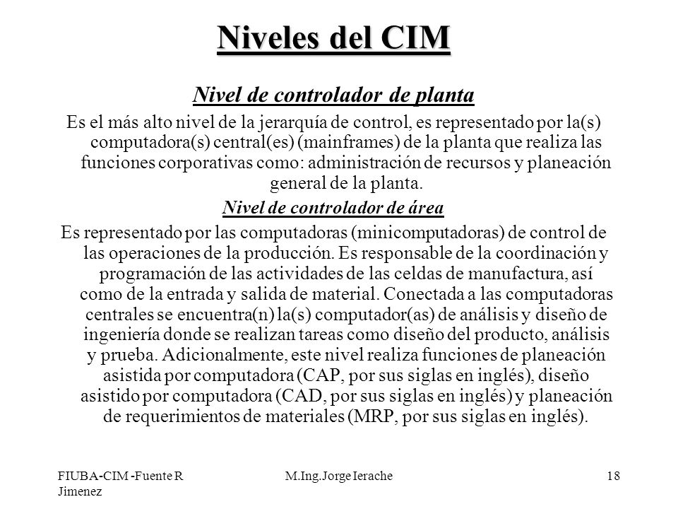 Niveles del CIM Nivel de controlador de planta