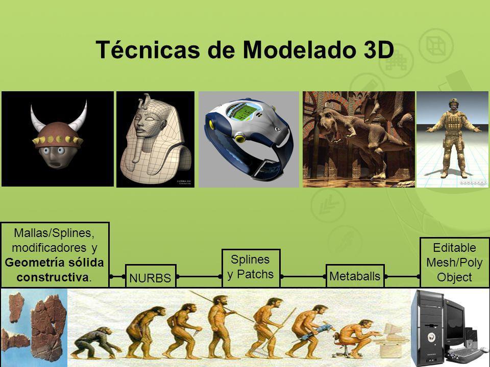 Técnicas de Modelado 3D Mallas/Splines, modificadores y Geometría sólida constructiva. Editable Mesh/Poly Object.