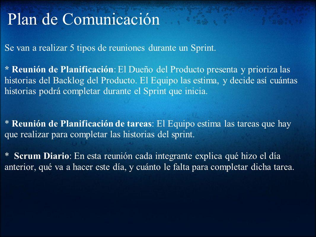 Plan de Comunicación Se van a realizar 5 tipos de reuniones durante un Sprint.
