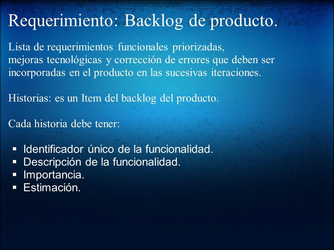 Requerimiento: Backlog de producto.